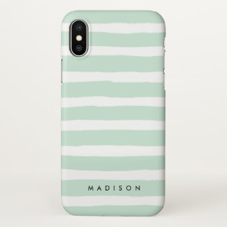 Personalised Mint Green and White Brushed Stripe iPhone X Case