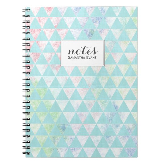 Personalised Mint Green Triangles Pattern Notebook