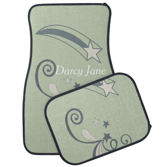 Personalised Mint White Shooting Stars Flourish Car Mat