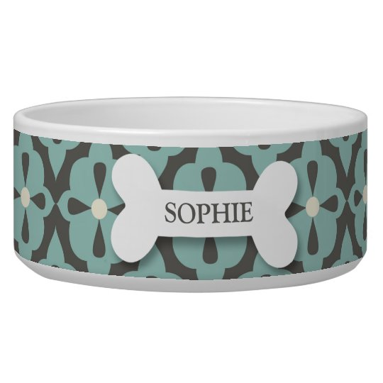 Personalised mod blue flora dog bone pet food bowl