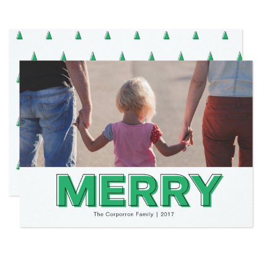 Personalised Modern Green Merry Holiday Card