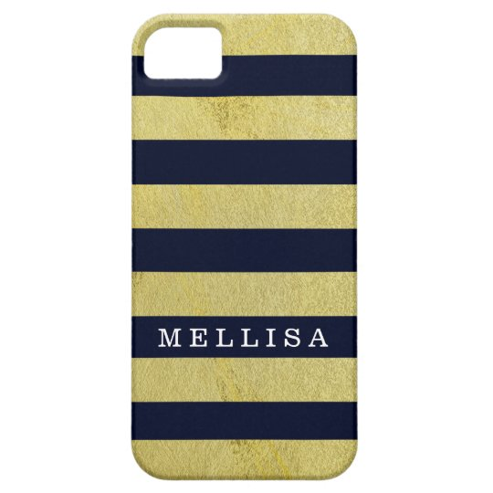 Personalised Modern Navy Gold Stripe iPhone 5 Cover