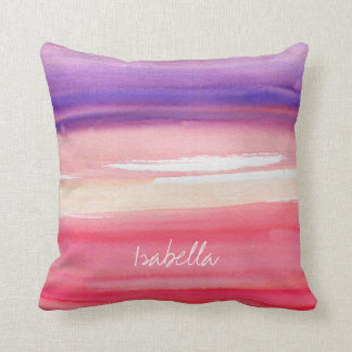 Personalised Modern Pink/Coral/Purple Throw Pillow