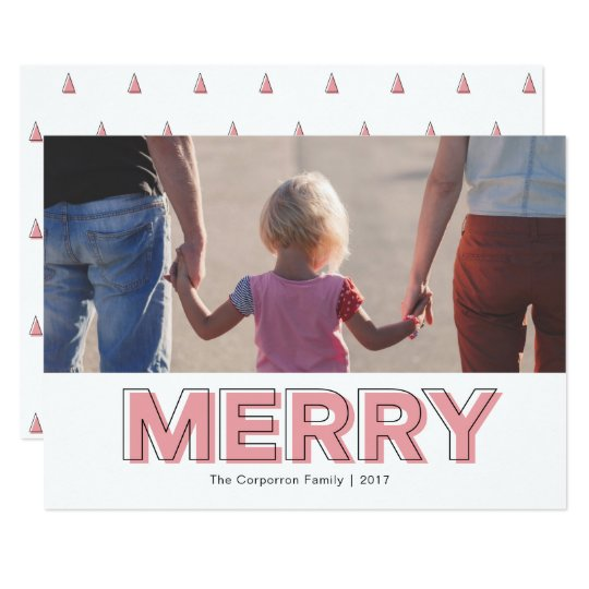 Personalised Modern Red Pink Merry Holiday Card