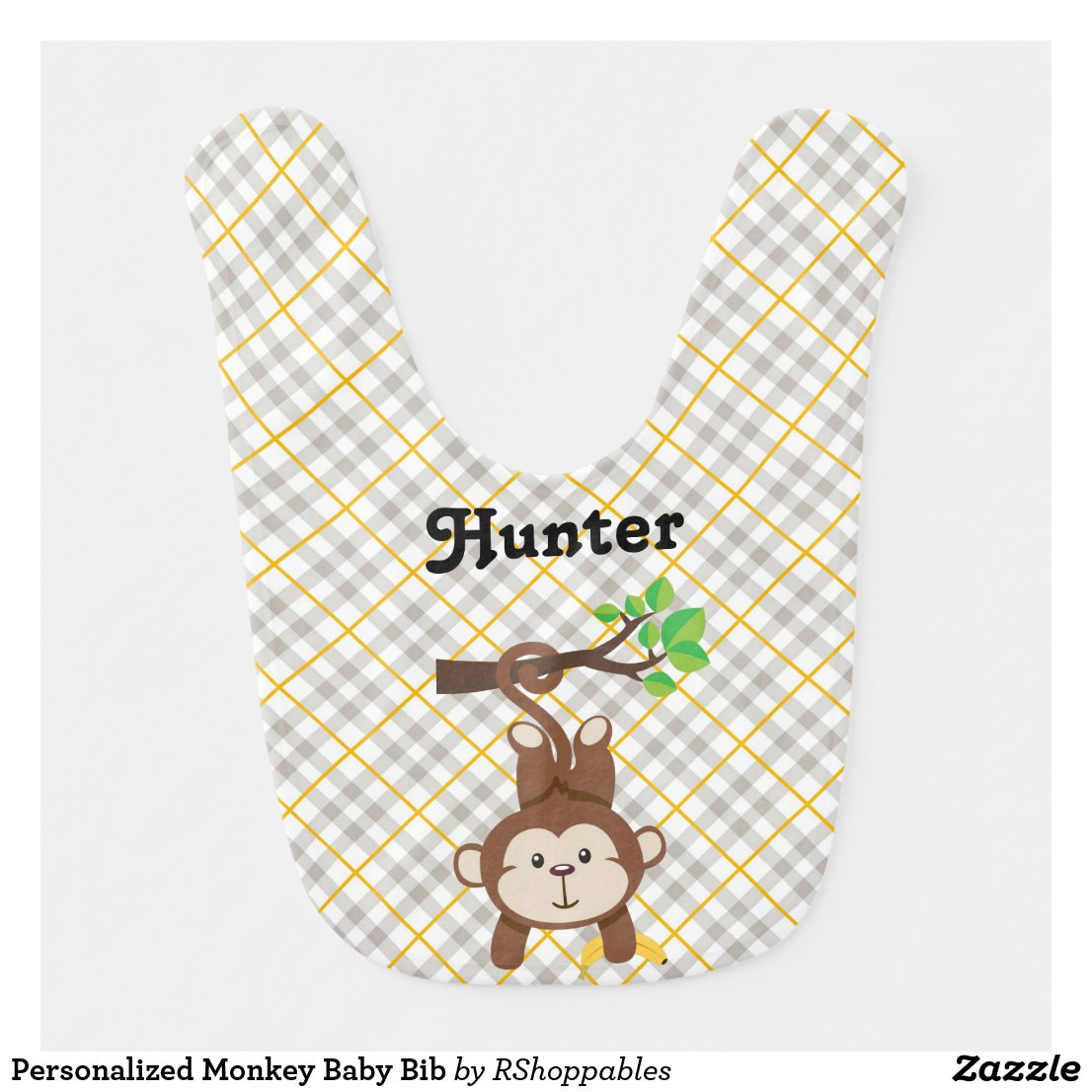 Personalised Monkey Baby Bib