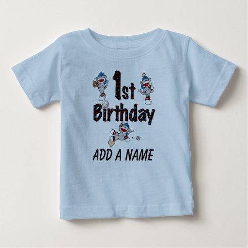Personalised Monkey Baseball 1st Birthday Tshirt