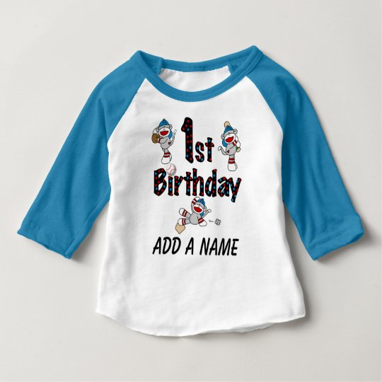 Personalised Monkey Baseball 1st Birthday Tshirt