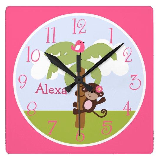 Personalised Monkey Girl on Tree Kids Clock