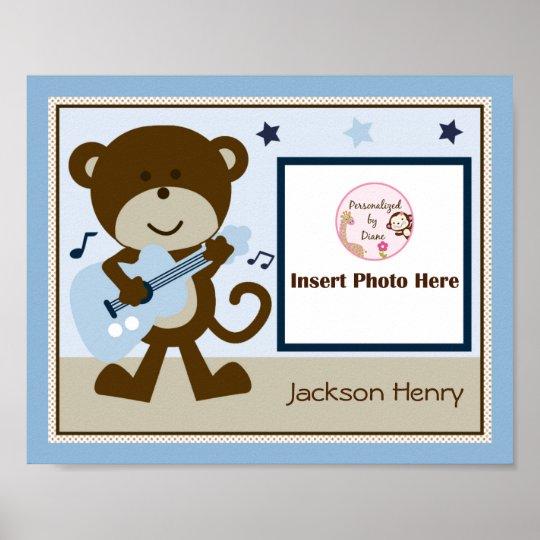 Personalised Monkey Rocker Star Photo Art Poster