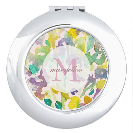 Personalised Monogram Abstract Floral Compact Vanity Mirrors