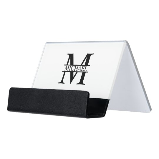 Personalised Monogram and Name Desk Business Card Holder