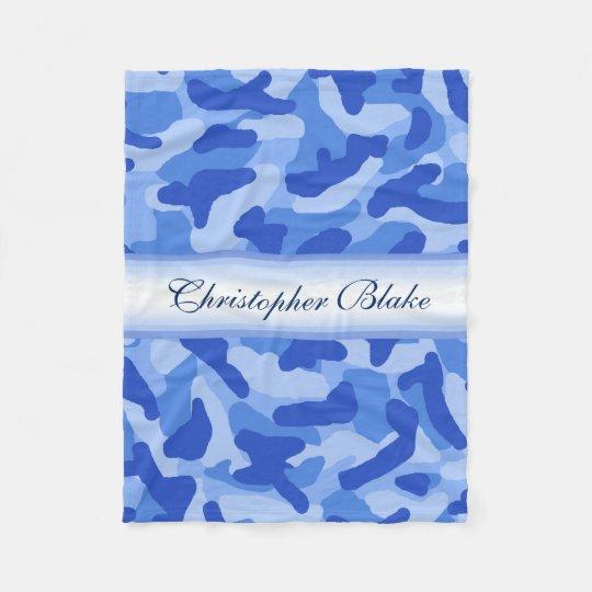 Personalised Monogram Blue Camo Camouflage Fleece Blanket