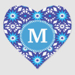 Personalised Monogram Bold Blue Teal Star Pattern Heart Sticker