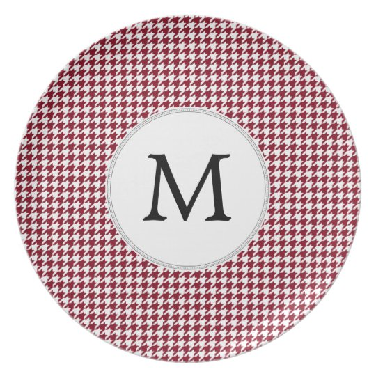 Personalised Monogram Burgundy Houndstooth Pattern Plate