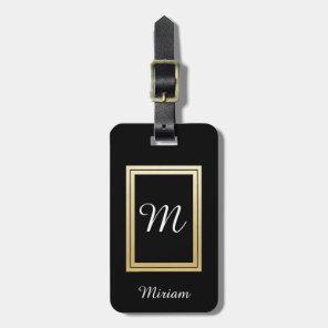 Personalised Monogram Business Gold Black Luggage Tag