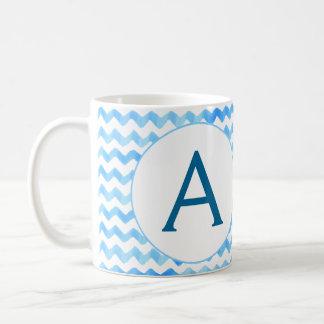 Personalised Monogram Coffee Mug Blue Watercolor