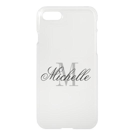Personalised monogram elegant clear iPhone 7 case