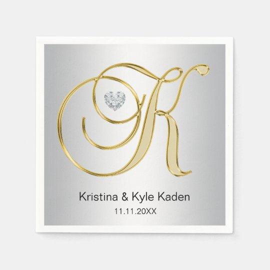 Personalised Monogram Gold Letter K Silver Wedding Paper