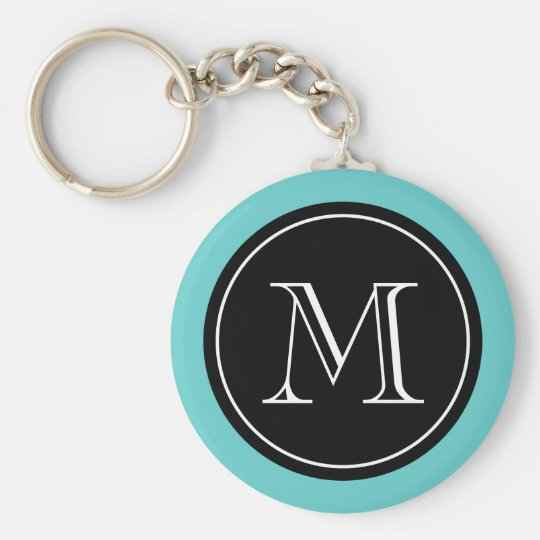 Personalised monogram keychain | Turquoise black
