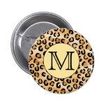 Personalised Monogram Leopard Print Pattern. Pinback Buttons