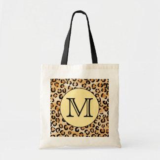 Personalised Monogram Leopard Print Pattern. Tote Bag