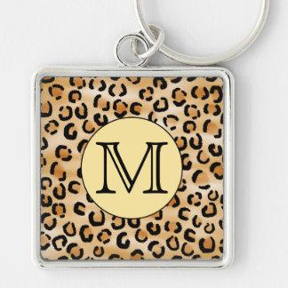 Personalised Monogram Leopard Print Pattern. Key Chain