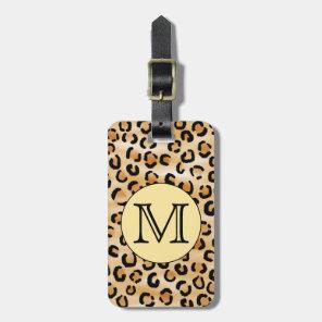 Personalised Monogram Leopard Print Pattern. Luggage Tag