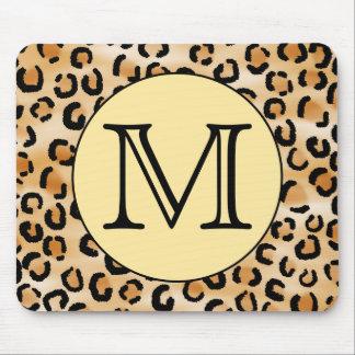Personalised Monogram Leopard Print Pattern. Mousemat