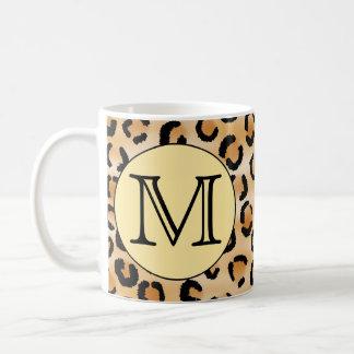 Personalised Monogram Leopard Print Pattern. Coffee Mugs