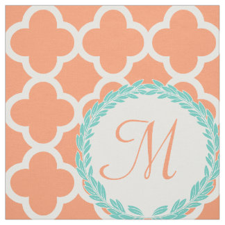 Personalised Monogram Letter Coral Peach Teal Fabric