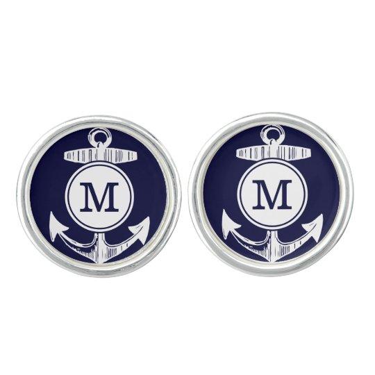 Personalised Monogram Nautical Navy Anchor Pattern Cuff Links