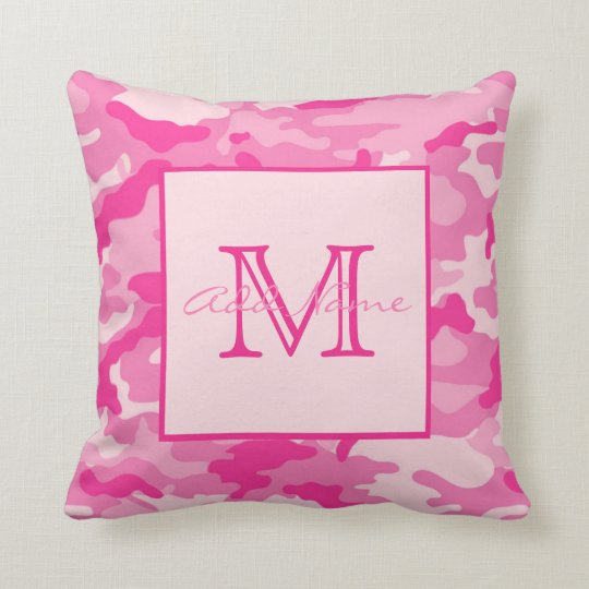 Personalised Monogram PINK CAMO Girl Throw Pillow