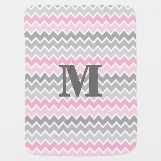 Personalised Monogram Pink Grey Grey Ombre Chevron Baby