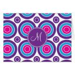 Personalised Monogram Pink Purple Circle Pattern Note Card
