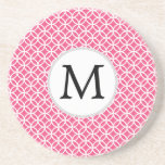Personalised Monogram Pink rings pattern Drink Coaster