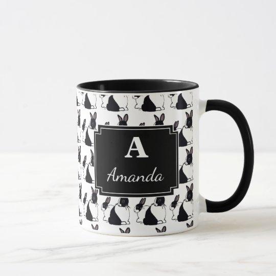 Personalised Monogram Rabbits Black & White Mug