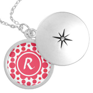 Personalised Monogram red dots pattern Pendants