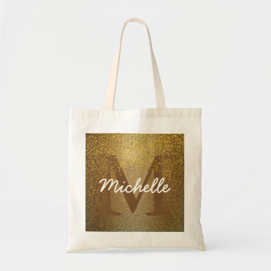 Personalised Monogram Tote Bag, Faux Gold Glitter