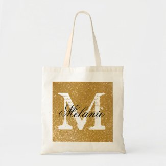 Personalised monogram tote bag | faux gold glitter