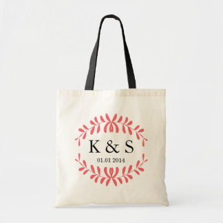 Personalised Monogram Wedding Favour | Coral Budget Tote Bag
