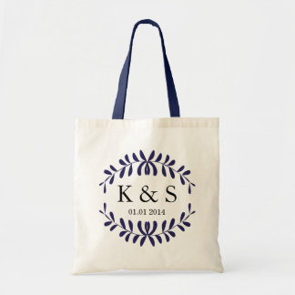 Personalised Monogram Wedding Favour | Navy Blue Budget Tote Bag