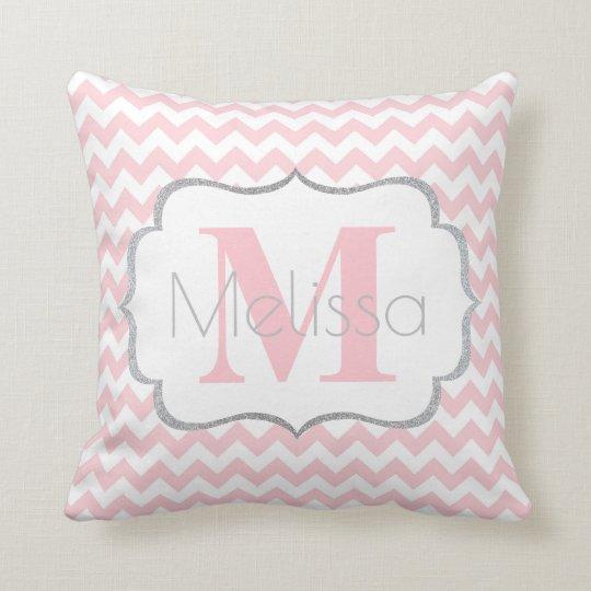 Personalised Monogrammed Pink Grey Chevron Girl Cushion
