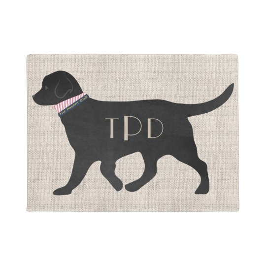 Personalised Monogrammed Preppy Black Lab Tan Jute Doormat
