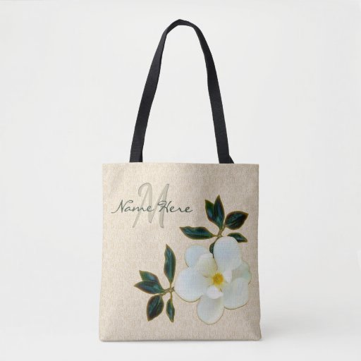 Personalised Monogrammed Tote Bags with Magnolia