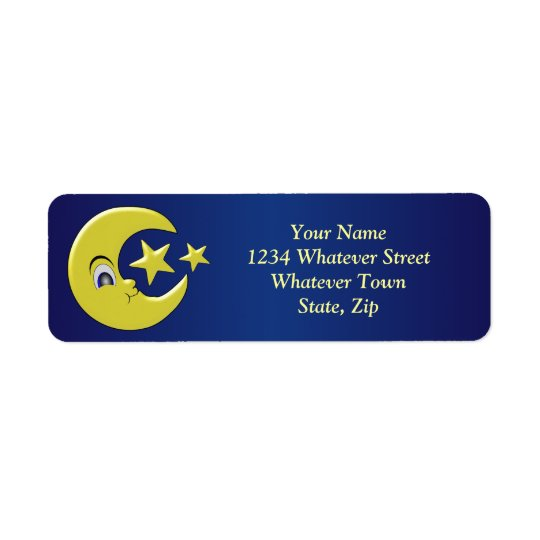 Personalised Moon With Stars Return Address Label