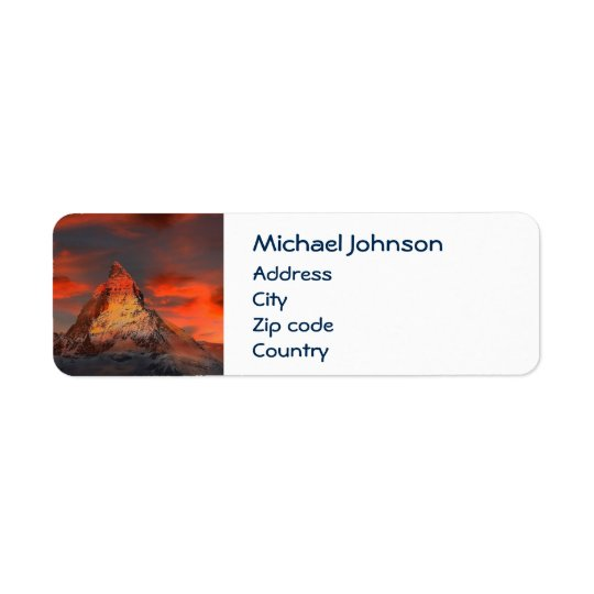 Personalised Mountain Matterhorn Zermatt Red Sky Return Address Label