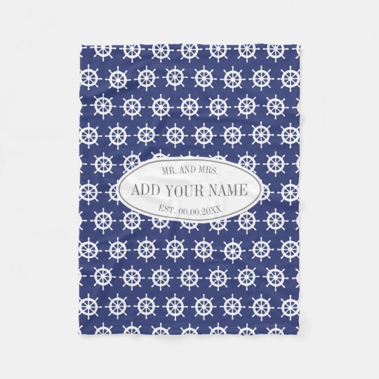 Personalised mr and mrs navy blue nautical pattern