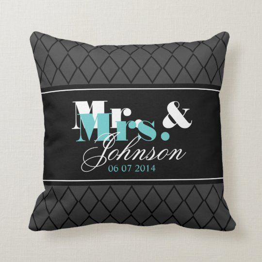 Personalised Mr and Mrs throw pillow for newlyweds
