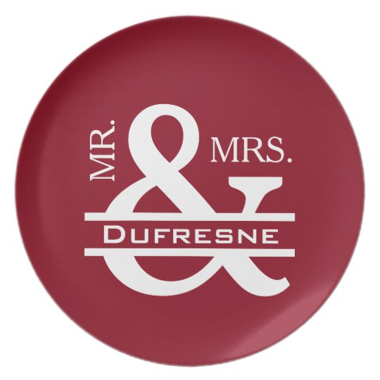 Personalised Mr & Mrs Red Plate