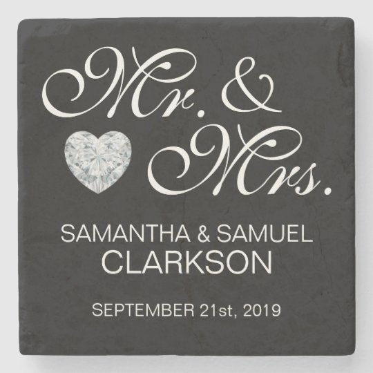Personalised MR. & MRS. White Black Wedding Stone